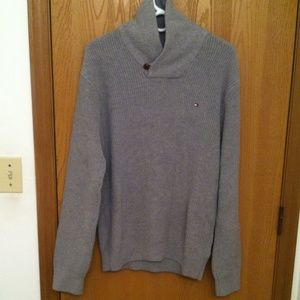 TOMMY HILFIGER SWEATER COLLARED MENS LARGE GRAY